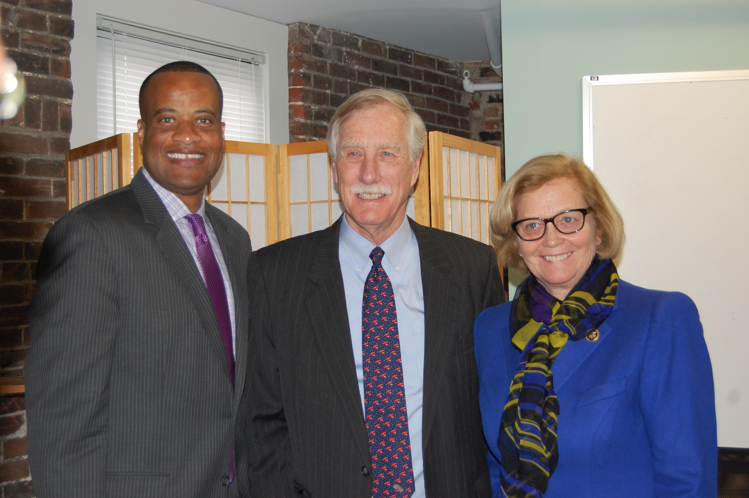 Pingree with Assistant Commerce Secretary Jay Williams and Sen. Angus King